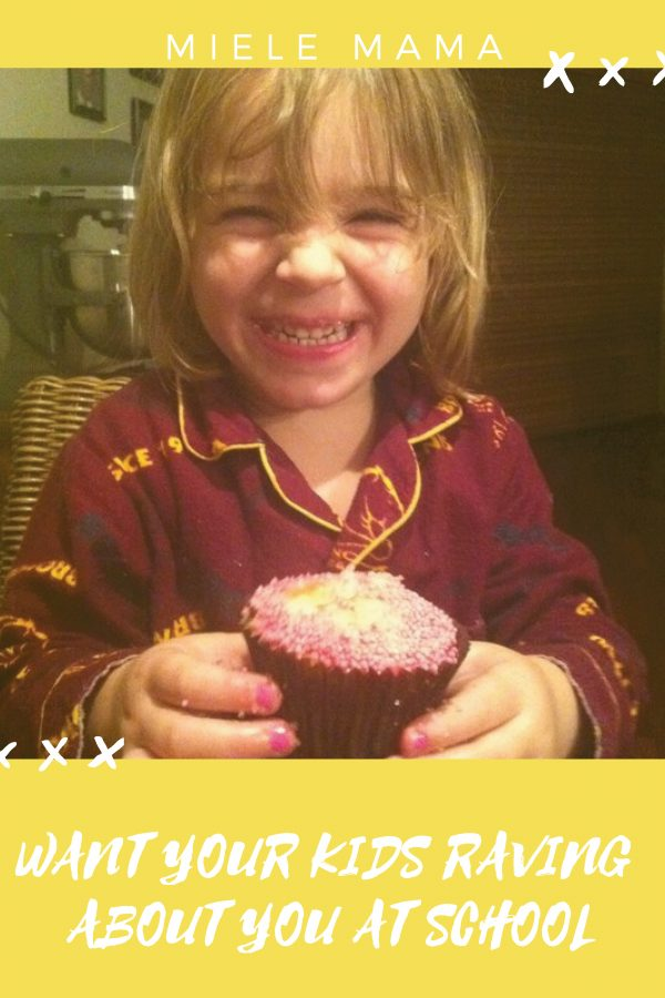 Happy kid eating cupcake