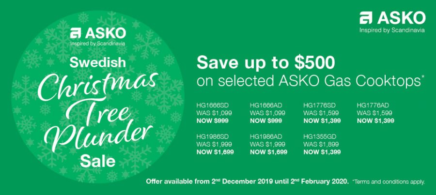 save up to $500 on ASKO GAS COOKTOPS
