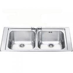Smeg LV95-3 LV95-3 DOUBLE BOWL SINK WITH TAP HOLE